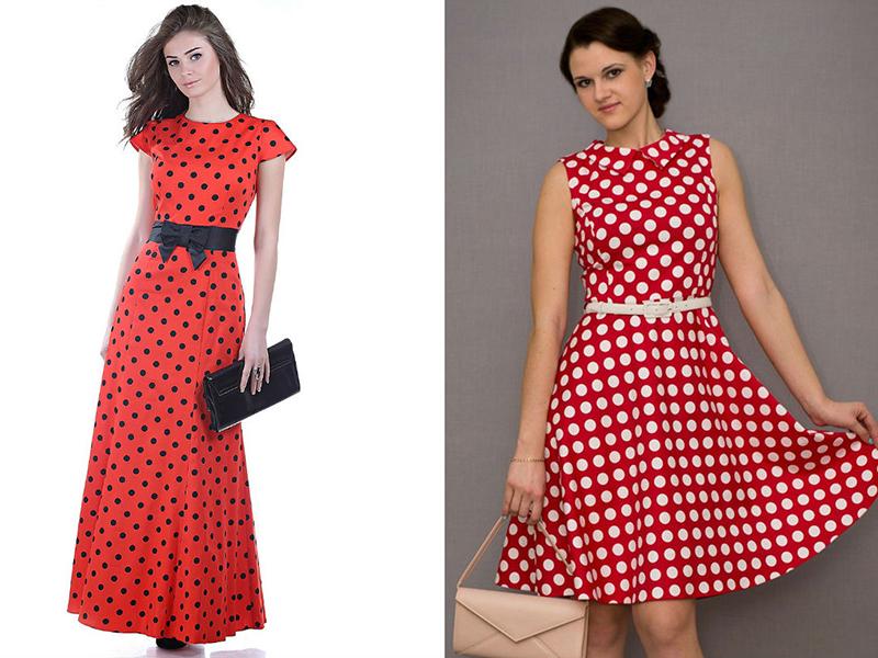 02539e1f181 А вот избыток аксессуаров некрасиво смотрится при любом размере горошин на красном  платье. Поэтому переборите искушение украсить образ шляпкой