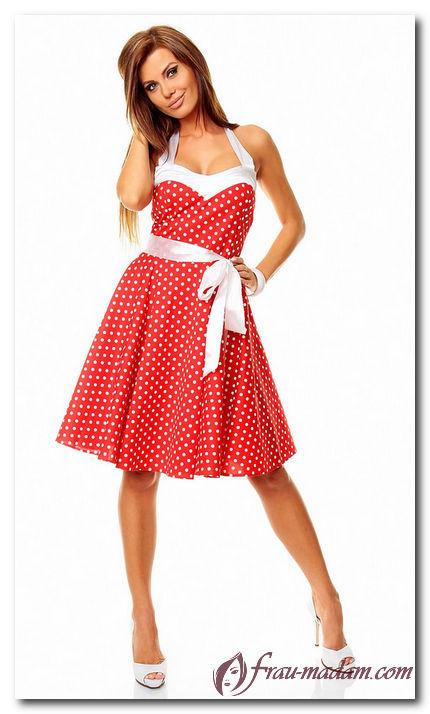 5760947444b Часто красное платье в горох можно видеть в стиле ретро. Такое летнее платье  не оставит равнодушным любителей фильма «Стиляги».