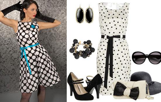 704d57969f1b Retro šaty môžu byť vyrobené z tkaniny vo veľkých alebo malých hrách  širokej škály odtieňov